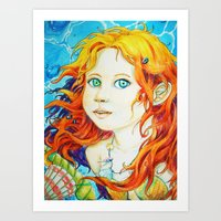 Little Sea Girl Art Print