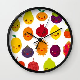 kawaii fruit Pear Mangosteen tangerine pineapple papaya persimmon pomegranate lime Wall Clock