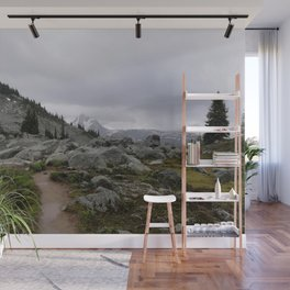Rainy mountains day with melancholic beauty Wall Mural