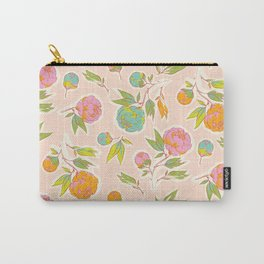 Bright colorful summer florals on blush pink Carry-All Pouch