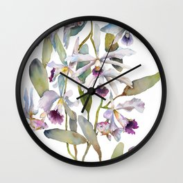 Cattleya Orchid White and Purple with Goldfish Muted Pallet Botanical Design Wall Clock