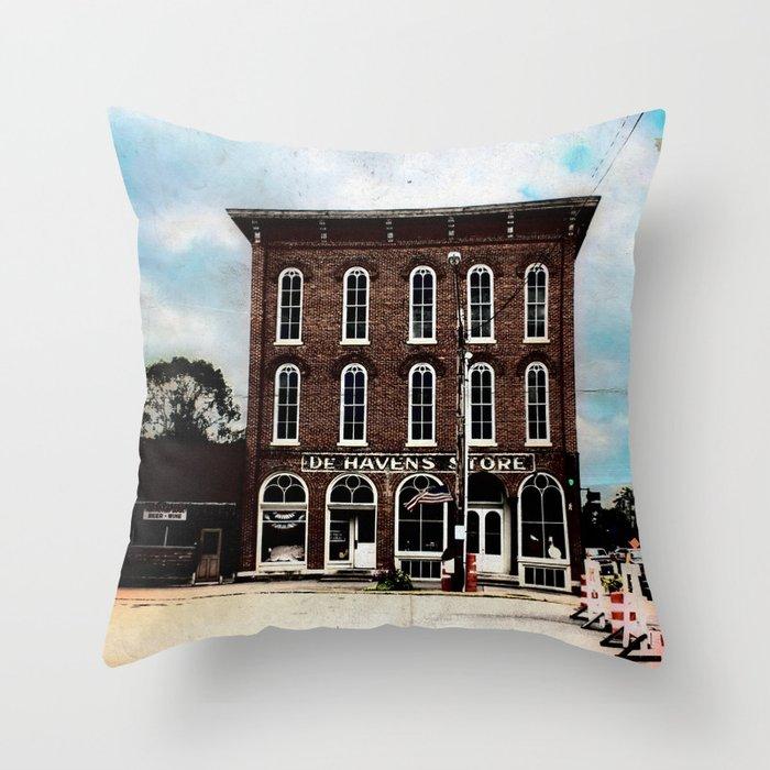 De Haven's Store Throw Pillow
