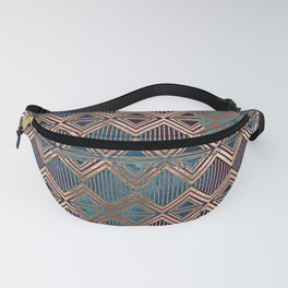 Distressed Triangle, Square with Stripes Digital Graphic Design - Artwork Fanny Pack
