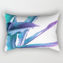Tropical Flair - Foliage glitch in blue, Aqua and Purple Rectangular Pillow