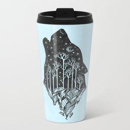 Adventure Wolf - Nature Mountains Wolves Howling Design Black on Turquoise Blue Metal Travel Mug
