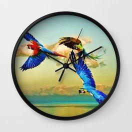 Exotic Macaws Wall Clock