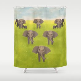 Elephants in Formation Shower Curtain