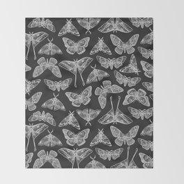 Lepidoptera Black & White Throw Blanket