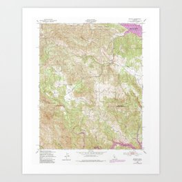 Bryson, CA from 1949 Vintage Map - High Quality Art Print