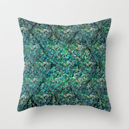 Persian Oriental pattern abalone and silver Throw Pillow