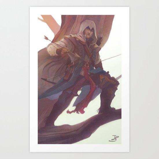 hunter atop the trees Art Print