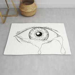 Human Eye Crying Tears Flowing Drawing Rug