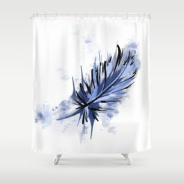 Blue Splashy Feather Shower Curtain