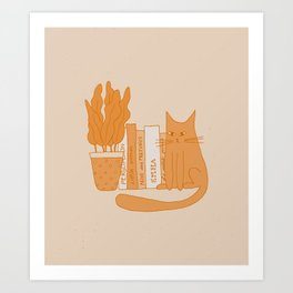 Cat, books and plants II Art Print