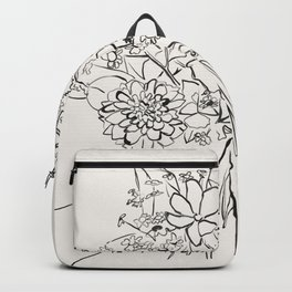 Hand Holding Flowers sketch art Backpack