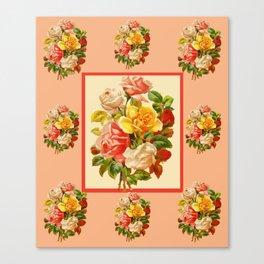 Vintage Rose Pattern Canvas Print