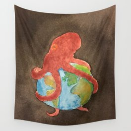 Octopus and Earth Wall Tapestry