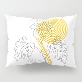 Monstera line Art Pillow Sham