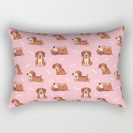beagle puppy In Pink Rectangular Pillow