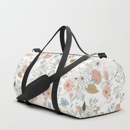 Abstract modern coral white pastel rustic floral Duffle Bag