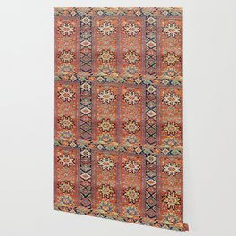 Southwestern Farmhouse V // 19th Century Colorful Red Yellow Blue Green Aztec Farm Stars Pattern Wallpaper