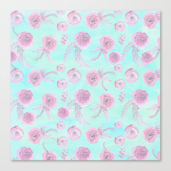 Peony Pattern Pink And Mint Canvas Print