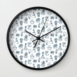 Blue Inky Cacti Wall Clock