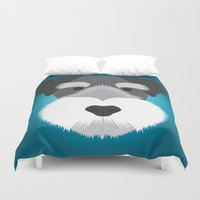 schnauzer Duvet Covers featuring Miniature Schnauzer  by Three Black Dots