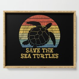 Vintage Save The Sea Turtles Animal Right Turtle Serving Tray
