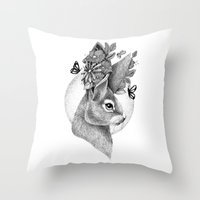 hare Throw Pillows featuring HARE by Thiago Bianchini