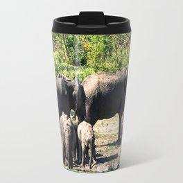 African elephants taking mud bath Travel Mug