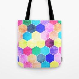 Honeycombs print, colorful hexagons Tote Bag