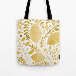 Branches and leaves - yellow Tote Bag