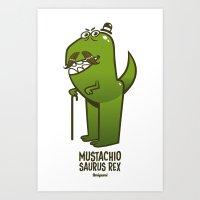 Mustachio Saurus Rex Art Print