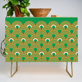 retro sixties inspired fan pattern in green and orange Credenza