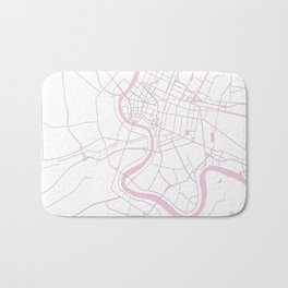 Bangkok Thailand Minimal Street Map - Pastel Pink and White II Bath Mat