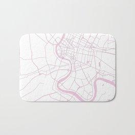 Bangkok Thailand Minimal Street Map - Pastel Pink and White II Bath Mat