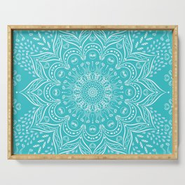 Teal mandala Serving Tray