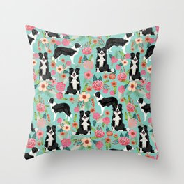 border collie cute florals mint pink black and white dog gifts for dog lover Throw Pillow