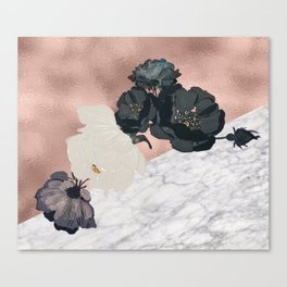 Floral marble rose gold Canvas Print