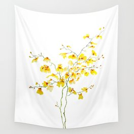 yellow Oncidium Orchid watercolor Wall Tapestry