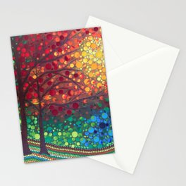 Winter sunset dot art by Mandalaole Stationery Cards