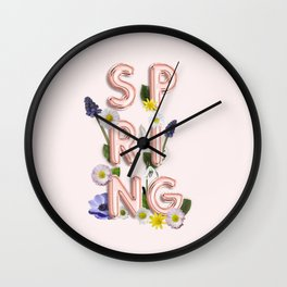 Rose Gold Spring Flower Blush Wall Clock