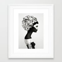 make up Framed Art Prints featuring Marianna by Ruben Ireland