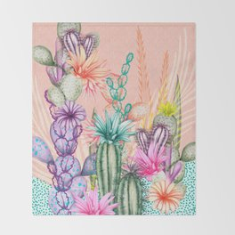 Cacti Love Throw Blanket