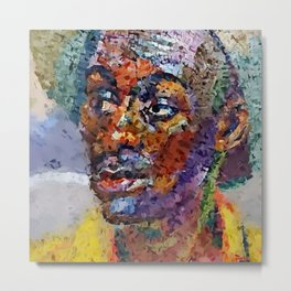 Portrait Painting of an African African  man based on Cincinnati Union Terminal public mural Metal Print
