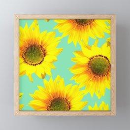 Sunflowers on a pastel green backgrond - #Society6 #buyart Framed Mini Art Print