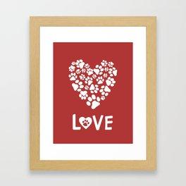 Dog Paw Prints Heart Framed Art Print