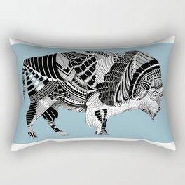 BLUE BISONTE-. Rectangular Pillow