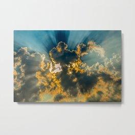 Sun Coming Through the Clouds Metal Print